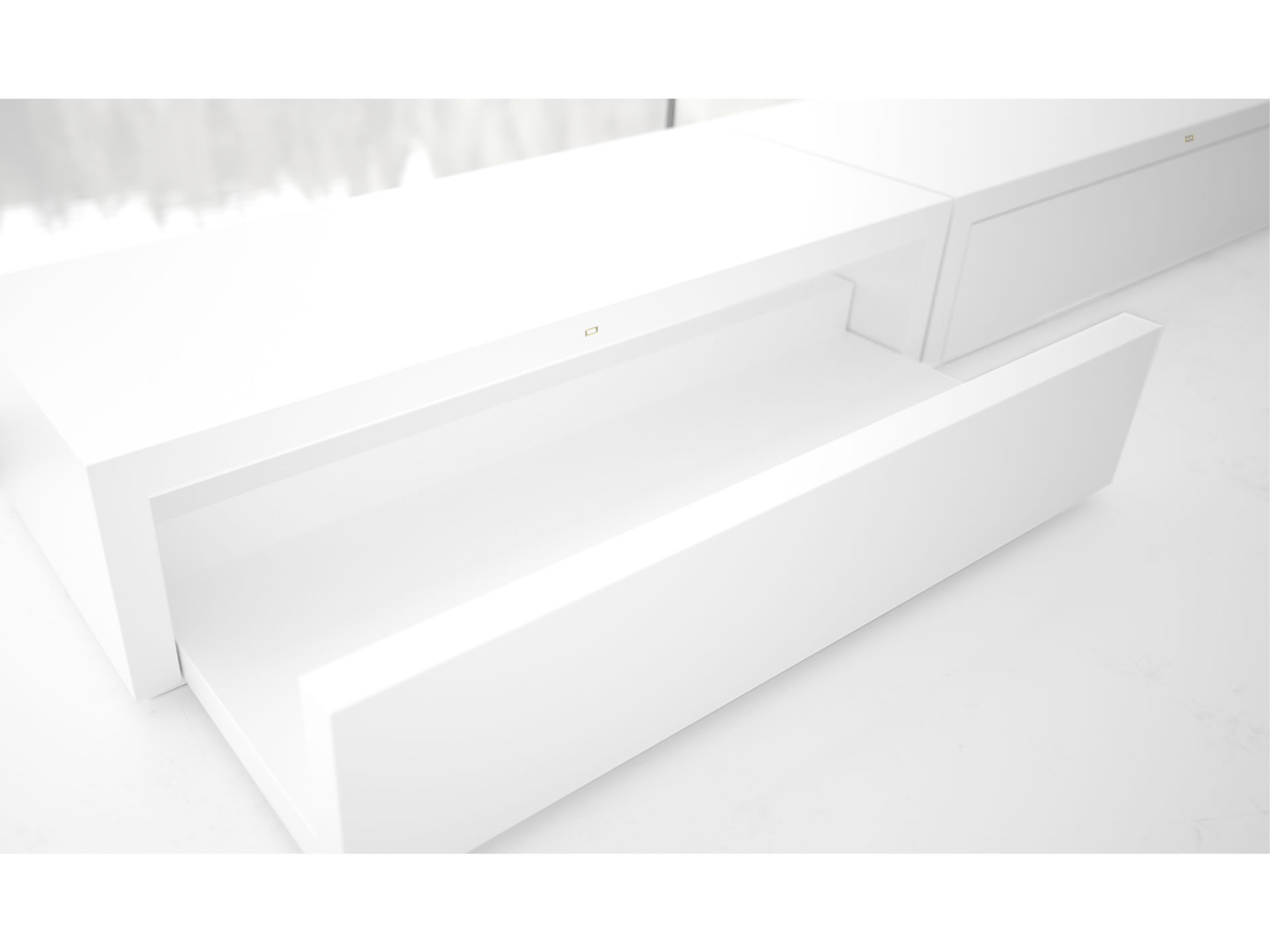 FELIX SCHWAKE SCHRANK I I Innovatives Weisses Hifi Sideboard