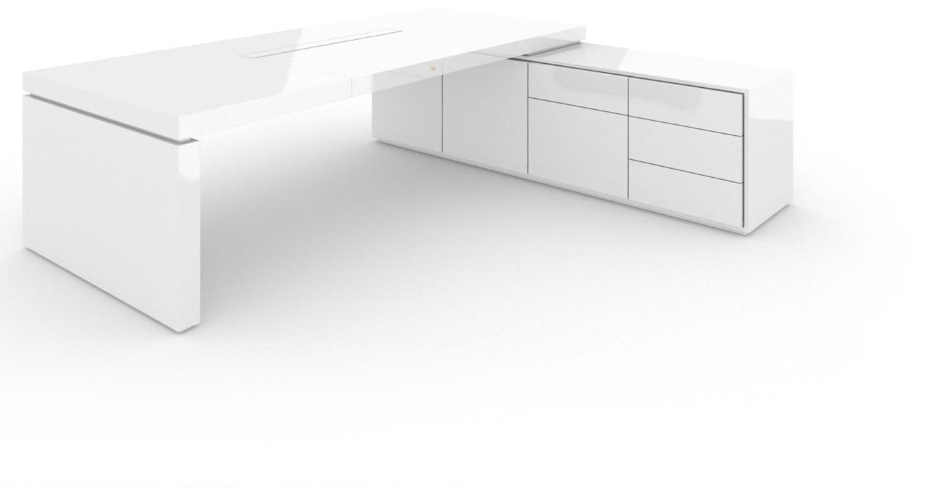 schreibtisch kubisch klavierlack wei felix schwake. Black Bedroom Furniture Sets. Home Design Ideas