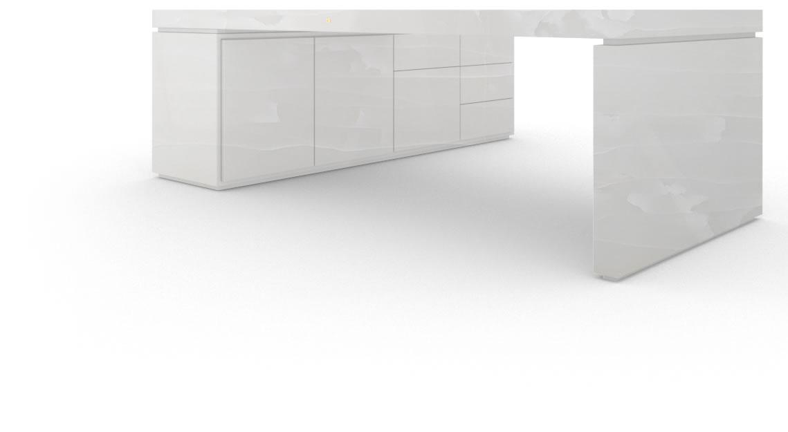 design chef schreibtisch 1 sideboard marmor wei. Black Bedroom Furniture Sets. Home Design Ideas