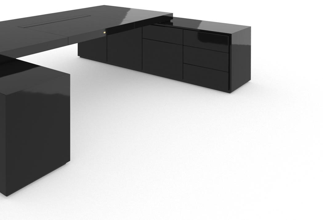 schreibtisch iv ii klavierlack schwarz felix schwake. Black Bedroom Furniture Sets. Home Design Ideas