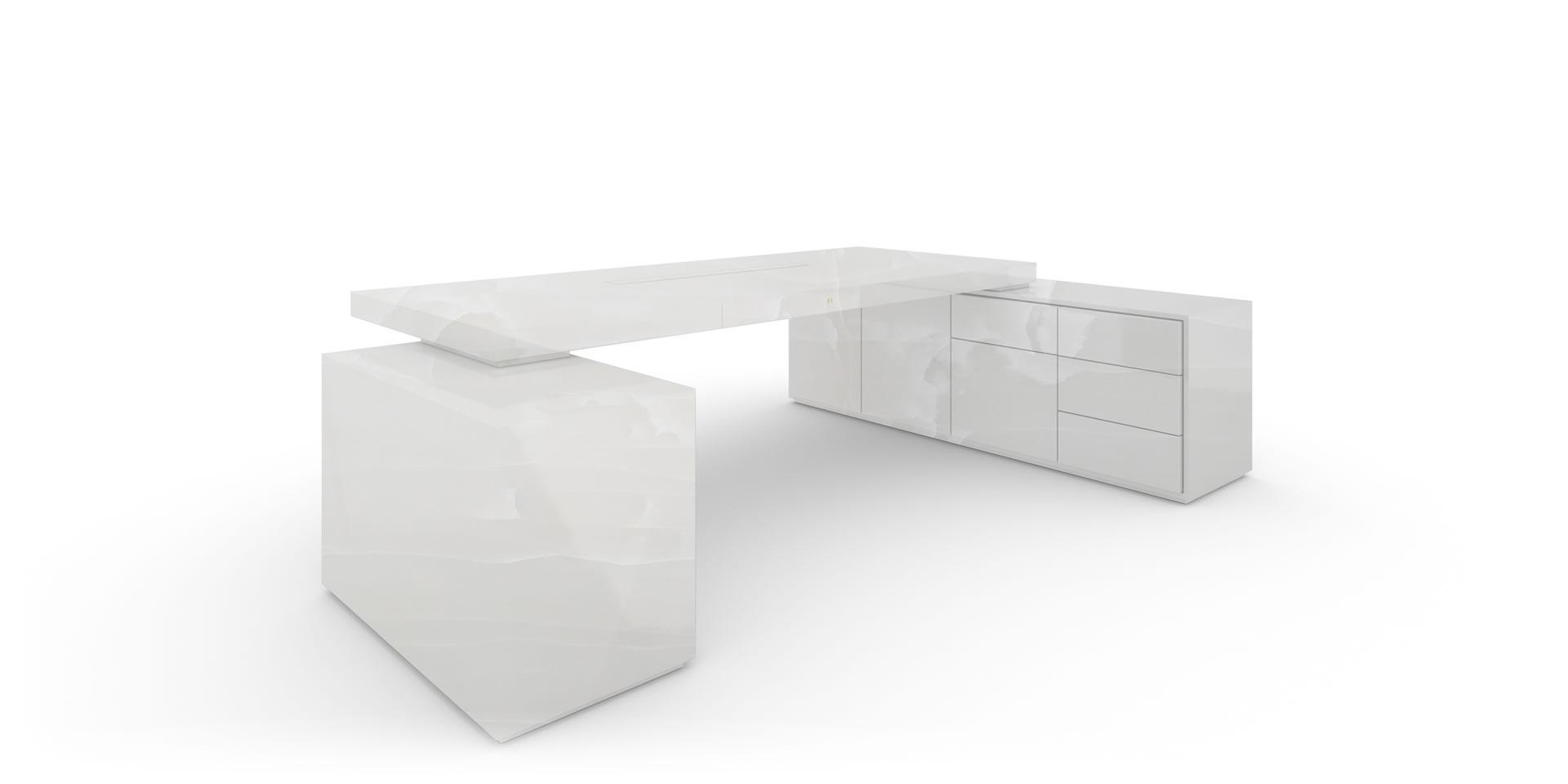 Wunderbar Kinderschreibtisch Design Das Beste Von Eck-schreibtisch Mit 2-sideboards, Marmor, Weiß - Felix