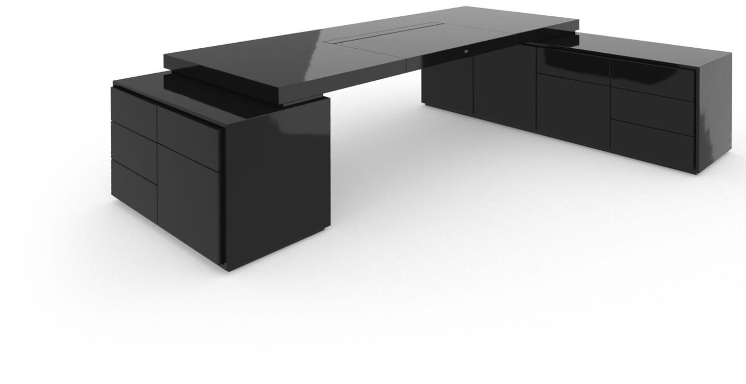 schreibtisch iv ii i klavierlack schwarz felix schwake. Black Bedroom Furniture Sets. Home Design Ideas