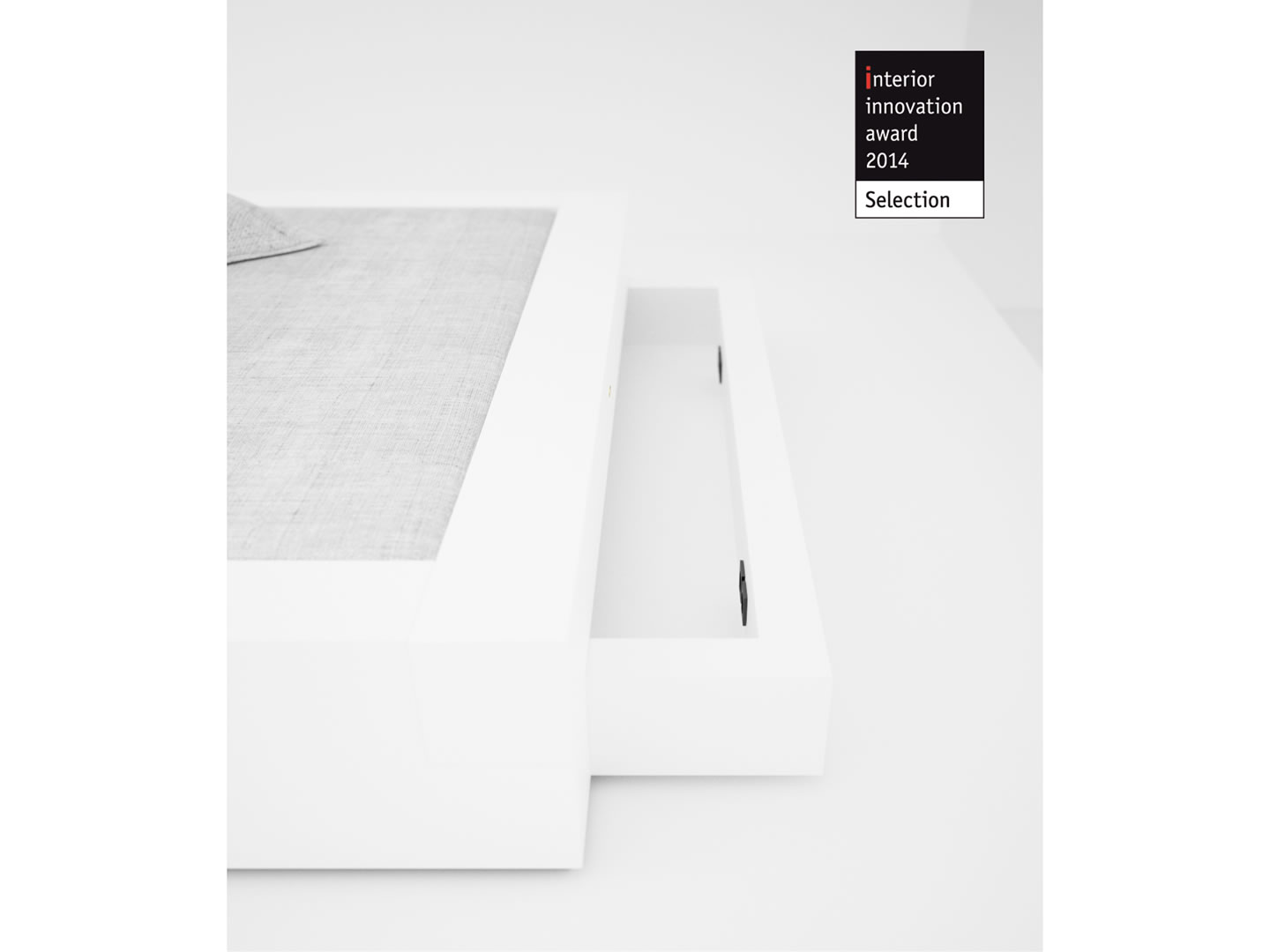 RECHTECK BETT I I Minimalistisches Weisses Bett Mit Bettkaesten Interior Innovation Award 2014